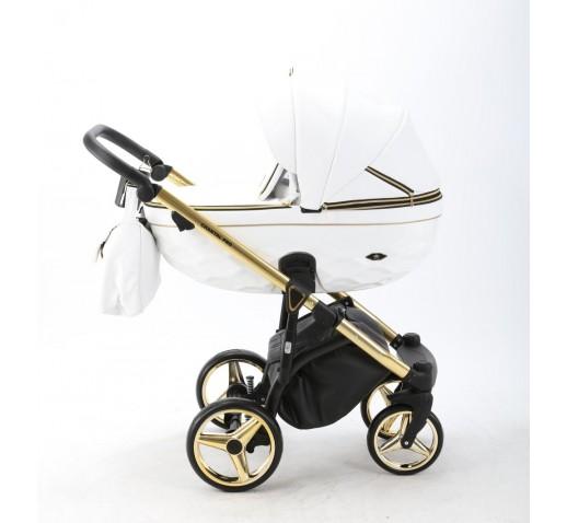 Carucior copii 3 in 1 Chantal PRO Adamex Special Edition White Leather Gold CHP101