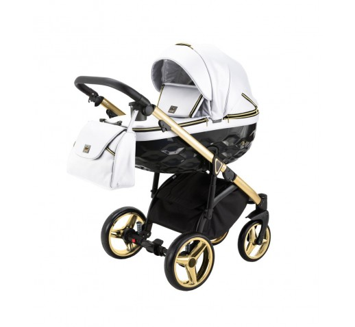 Carucior copii 3 in 1 Chantal PRO Adamex Special Edition White Leather Gold CHP101