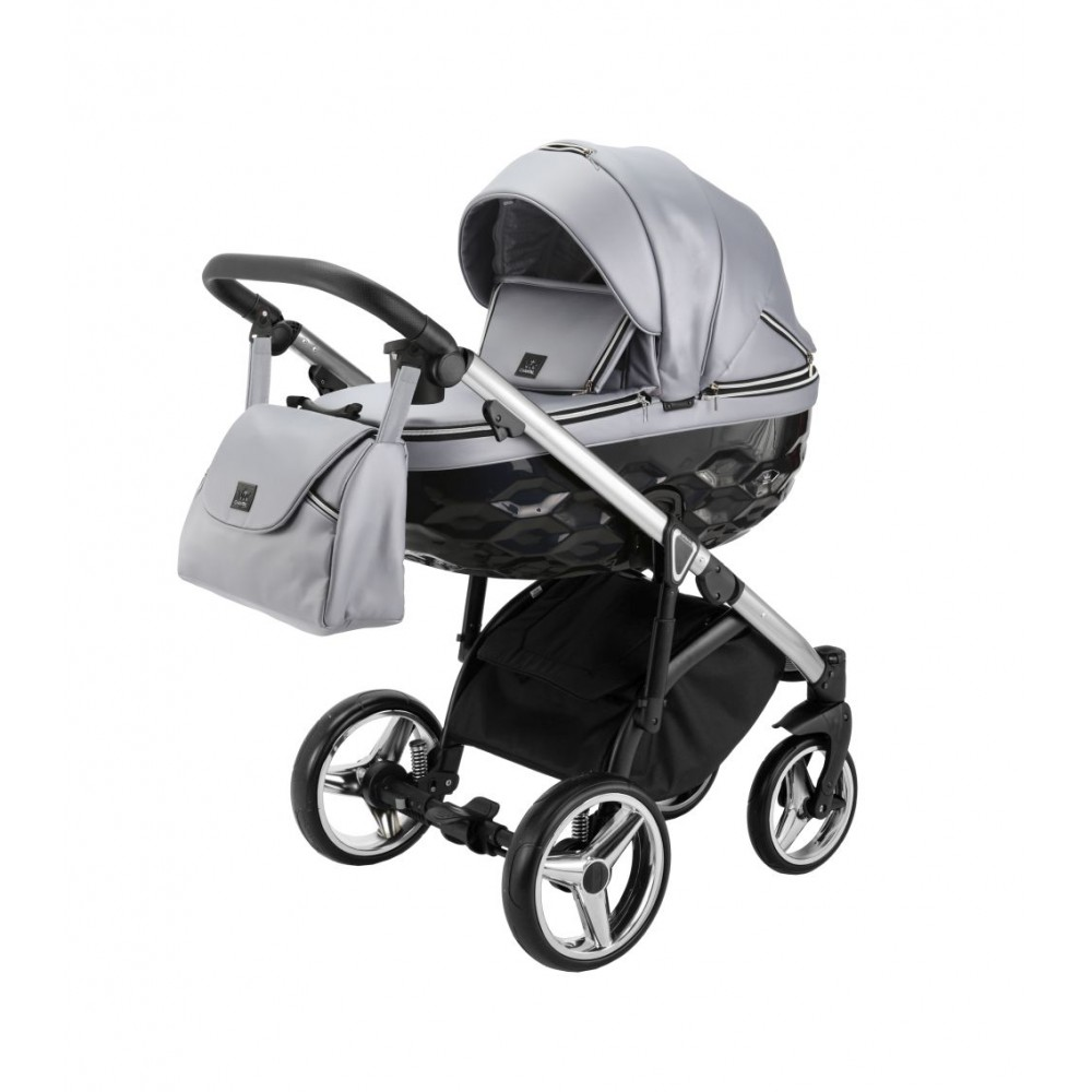 Carucior copii 3 in 1 Chantal PRO Adamex Special Edition Grey Leather Silver CHP109