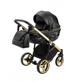 Carucior copii 3 in 1 Chantal PRO Adamex Special Edition Black Leather Gold CHP110
