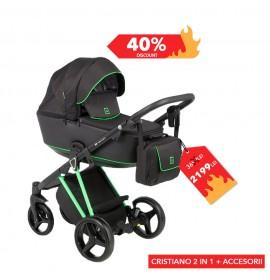 Carucior copii 2 in 1 Cristiano Adamex Special Edition FLUO Green