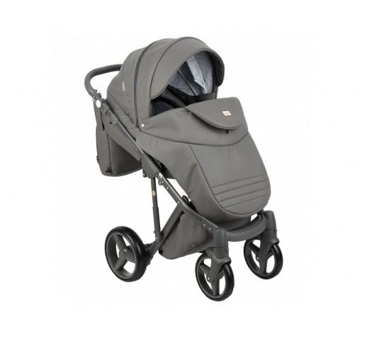 Carucior copii 3 in 1 Adamex Luciano Q102 Deluxe Intense Grey Leather