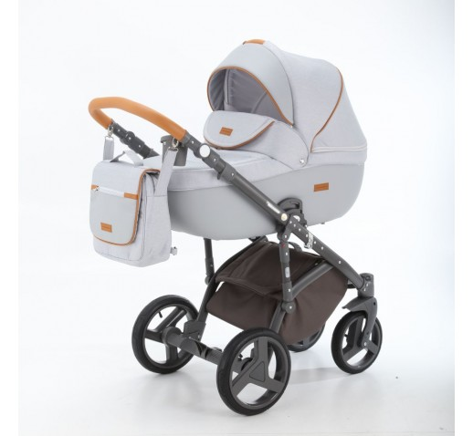 Carucior copii 3 in 1 Adamex Massimo Grey Pearl