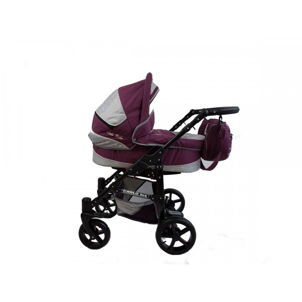 Carucior copii 3 in 1 Carlo Lux PREMIUM Purple  Hearts