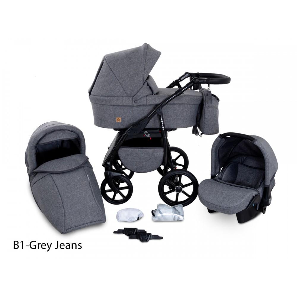 Carucior copii 3 in 1 Boston Grey Jeans