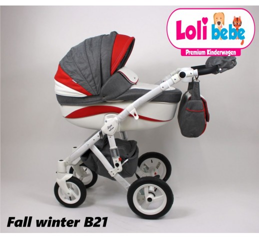 Carucior copii 3 in 1 Lolibebe LOVE Fall Winter Red Grey