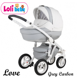 Carucior copii 3 in 1 LoliBebe LOVE Deluxe Grey Carbon