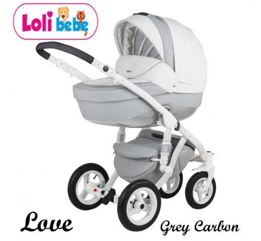 Carucior copii 3 in 1 LoliBebe LOVE Deluxe Grey Carbon
