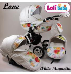 Carucior copii 3 in 1 Lolibebe LOVE White Magnolia