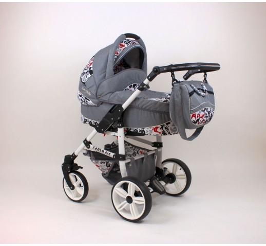 Carucior copii 3 in 1 Carlo Lux Baby Seka Grey Animals