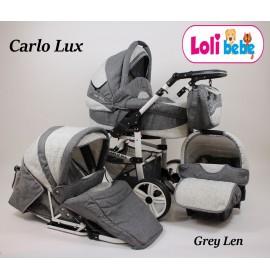 Carucior 3 in 1 Carlo Lux Baby Seka Grey Len