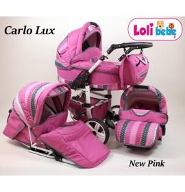 Carucior copii 3 in 1 Carlo Lux New Pink