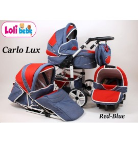 Carucior copii 3 in 1 Carlo Lux Baby Seka Red Blue