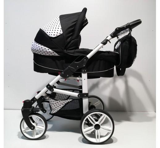 Carucior copii 3 in 1 Carlo Lux Baby Seka Black White
